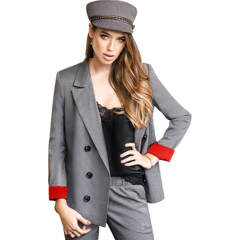Plaid Pant Suits Women s Suits Set Double Breasted Red Cuff Blazer Jacket Office Lady Outfits