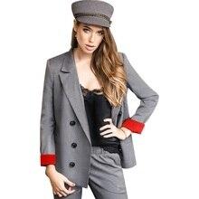 Plaid Pant Suits Women's Suits Set Doubl