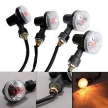 2Pair 4Pcs Motorcycle Bike Turn Signal Light Indicator Lamp Bulb Amber Blinker 12V Motorbike Accessories Black