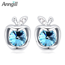 Original Crystals From Swarovski Cute Small Apple Stud Earrings For Women Bijoux Femme Jewelry Pendientes Orecchini Donna(China)