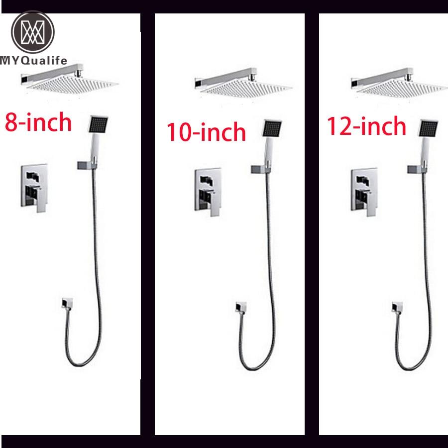 Promotion 8/ 10 / 12 inch Bathroom Ultrathin Rain Shower Faucets Chrome Brass Shower Set with Handshower