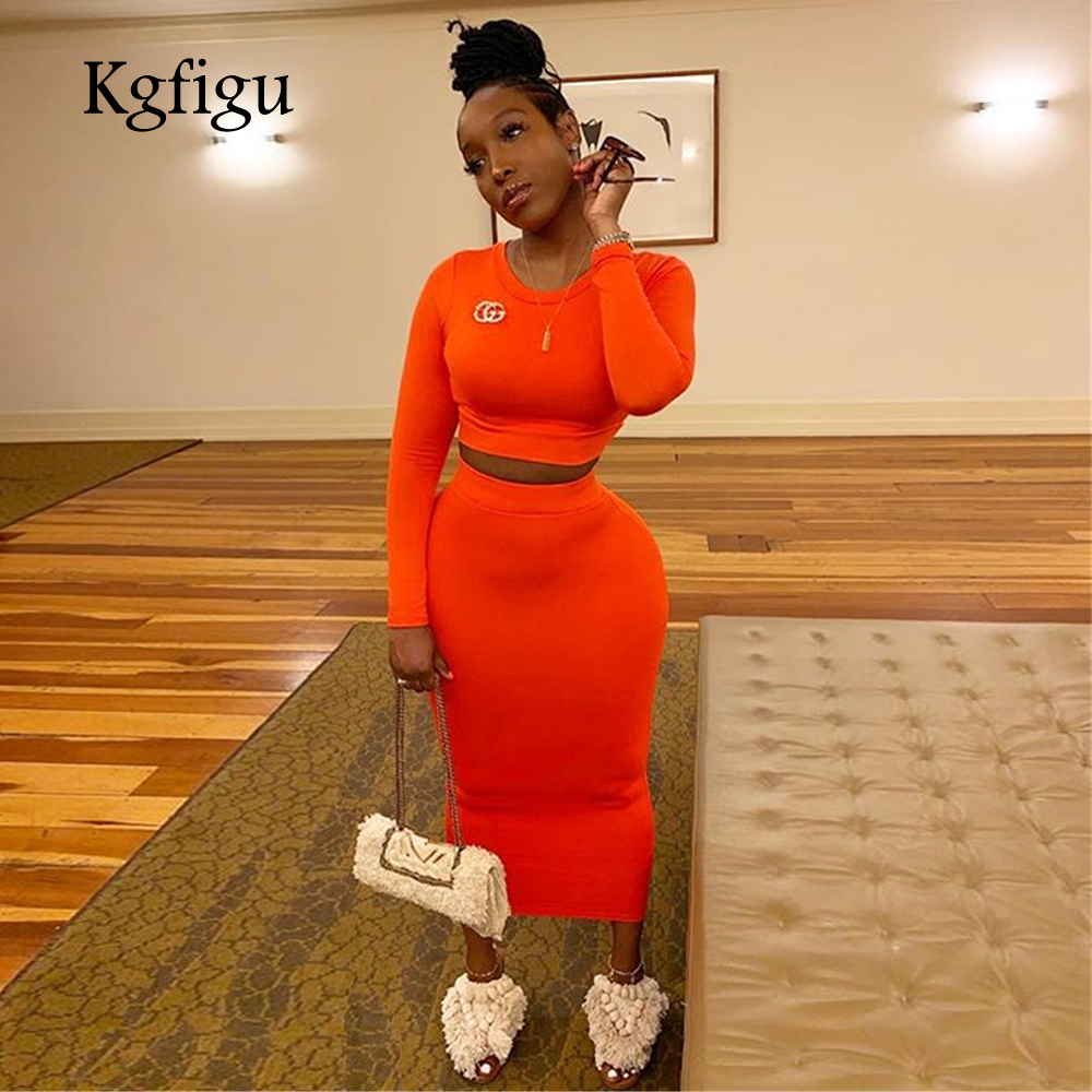 KGFIGU Women Sets 2019 New Arrrivals Long Sleeve Tops And Pencil Skirt Set Women Two Piece Outfits Neon Orange Matching Sets