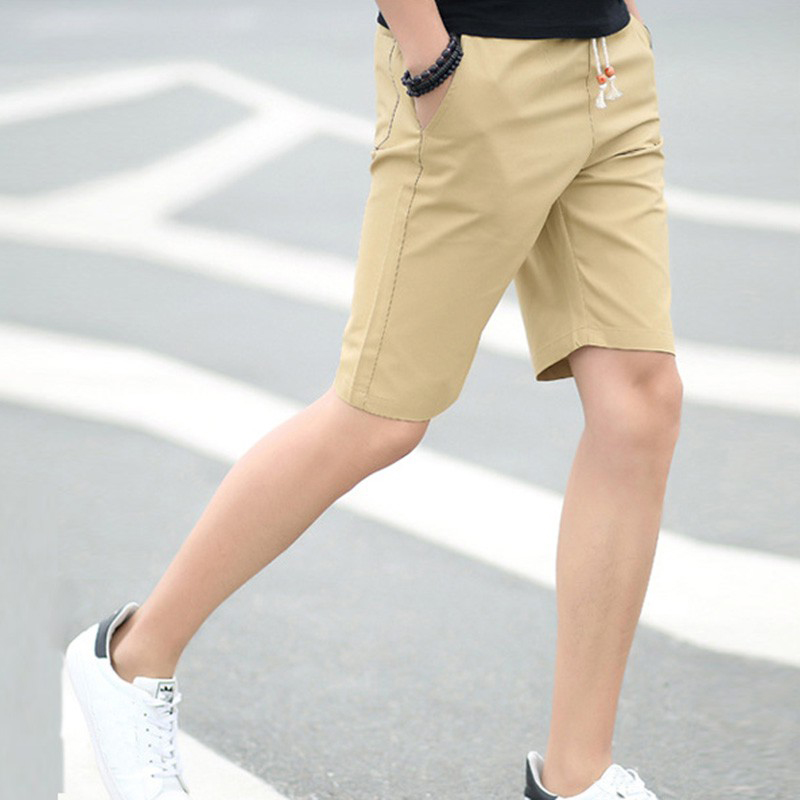 Men Baggy Beach Shorts Pockets Cargo Cotton Solid Short Trousers