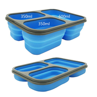 Portable tableware lunch box Silicon Collapsible microwave bento box folding lunchbox set food container Z0106