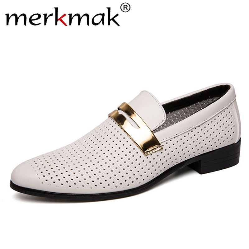 Merkmak New Summer Men Oxfords Fashion Pointed Hollow Breathable Casual Man Dress Shoes Slip On Office Leather Shoes Male Flat