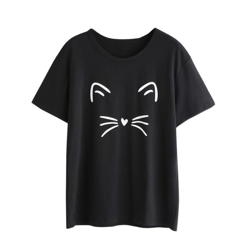 Graphic Tees T-shirts Femme Funny T-shirt en Coton Harajuku Femme Vêtements Chat Eté Top Roupas Feminina Top Top Femme et 510 hommes comme une camiseta feminina
