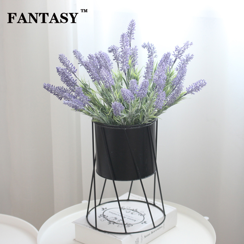 FANTASY 7Heads Purple Lavender Fake Flower Bundle PU Artificial Floral False Plant for Wedding Christmas Home Garden Decor in Artificial Dried Flowers from Home Garden