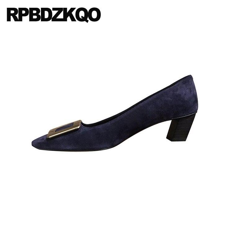 Automne noir luxe dames vin rouge moyen talons pompes épais métal bleu daim chaussures femmes en cuir verni bout carré 2019 haut