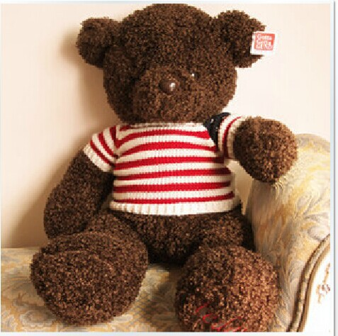 big plush stripe sweater teddy bear toy coffee sweater teddy bear doll gift about 110cm 0135 new creative cute plush bear toy big head teddy bear doll gift about 35cm
