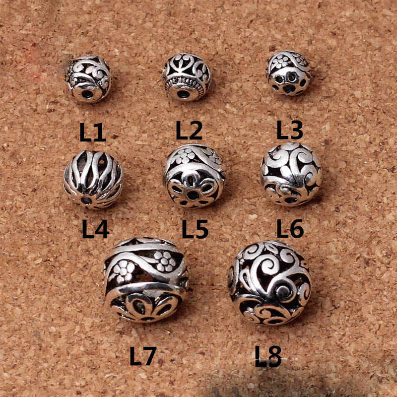 10 teile/los Mode Tibetischen Silber Hohle Blume Metall Perlen 8mm 10mm 11mm 14mm Handwerk Runden Ball spacer Perlen DIY Schmuck Machen