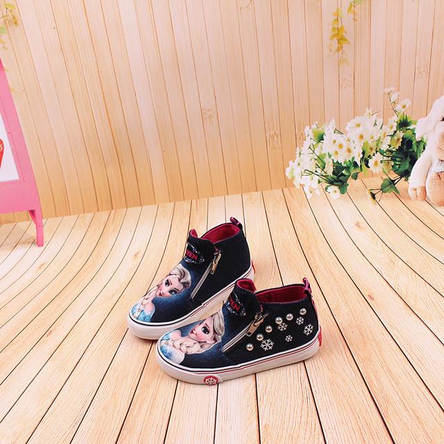 Disney frozen Children Casual Shoes High zipper  girls  elsa princess cartoon canvas shoes Europe size 25-36