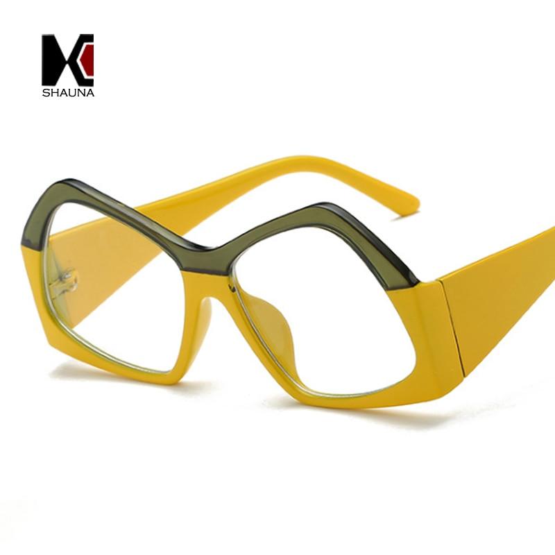 SHAUNA Double Colors Oversize Women Sunglasses Fashion Gradi