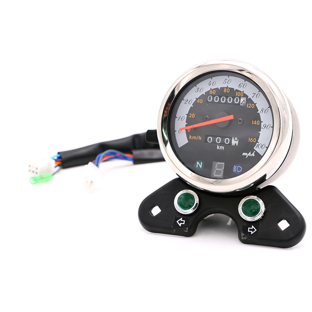 Universal Motorcycle Speedometer Odometer Gauge ATV Bike Scooter Backlit Dual Speed meter with LED Indica for Suzuki for honda dc 12v motorcycle speedometer odometer gauge atv scooter backlit dual speed meter with led indicator 0 160km h xq 001