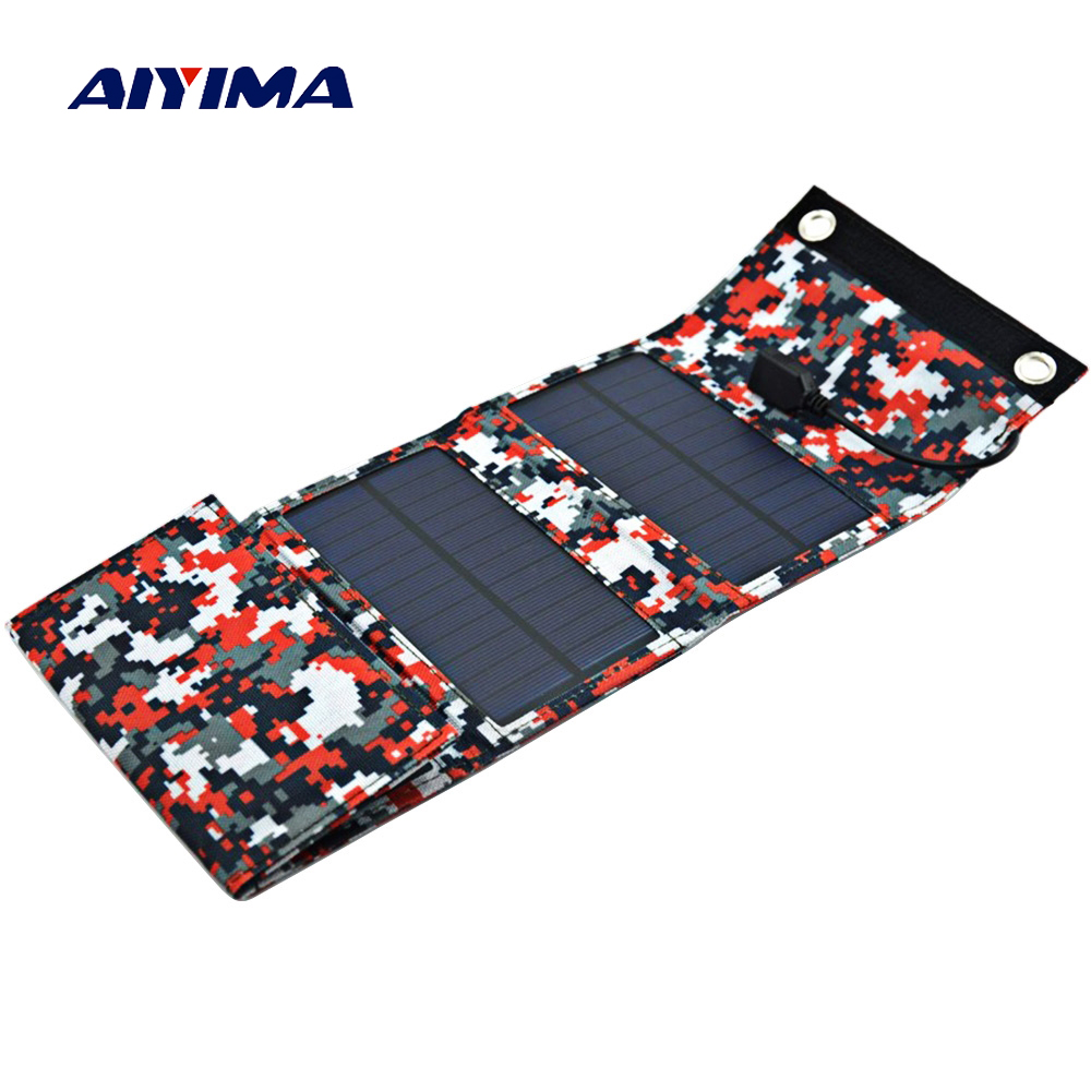 Aiyima 9W Solar Panels Portable Folding Foldable Waterproof Solar Panel Charger Power Bank for Phone Battery Charger