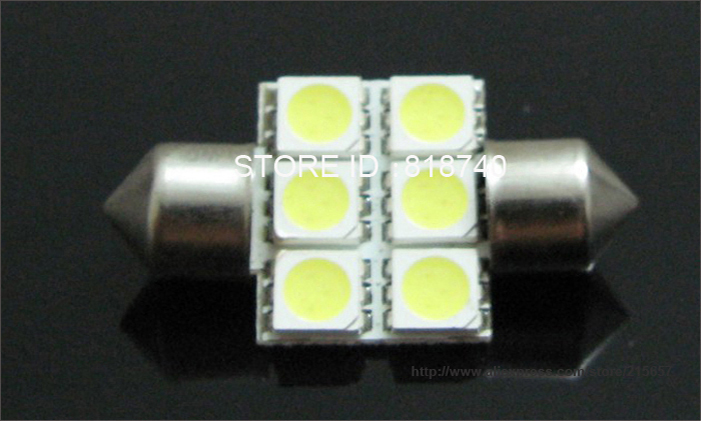 31mm 5050 smd 6 led white festoon door bulb lamp dc12v dome car auto interior reading map lights. Black Bedroom Furniture Sets. Home Design Ideas