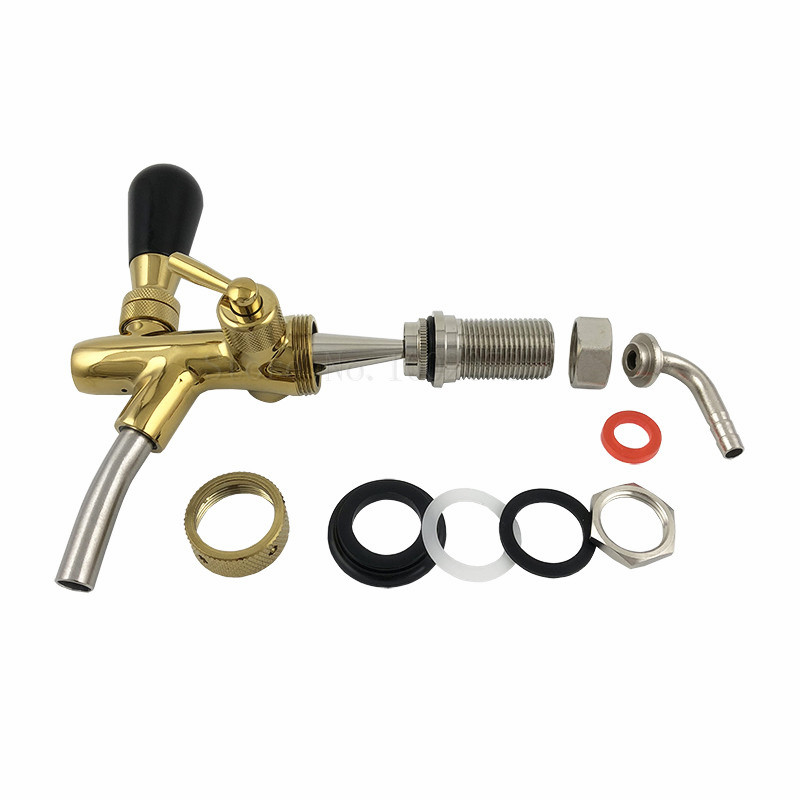 Homebrew Adjustable Beer Tap Faucet with Golden plating Kegerator Draft Tap Spout Beer brewing in Other Bar Accessories from Home Garden