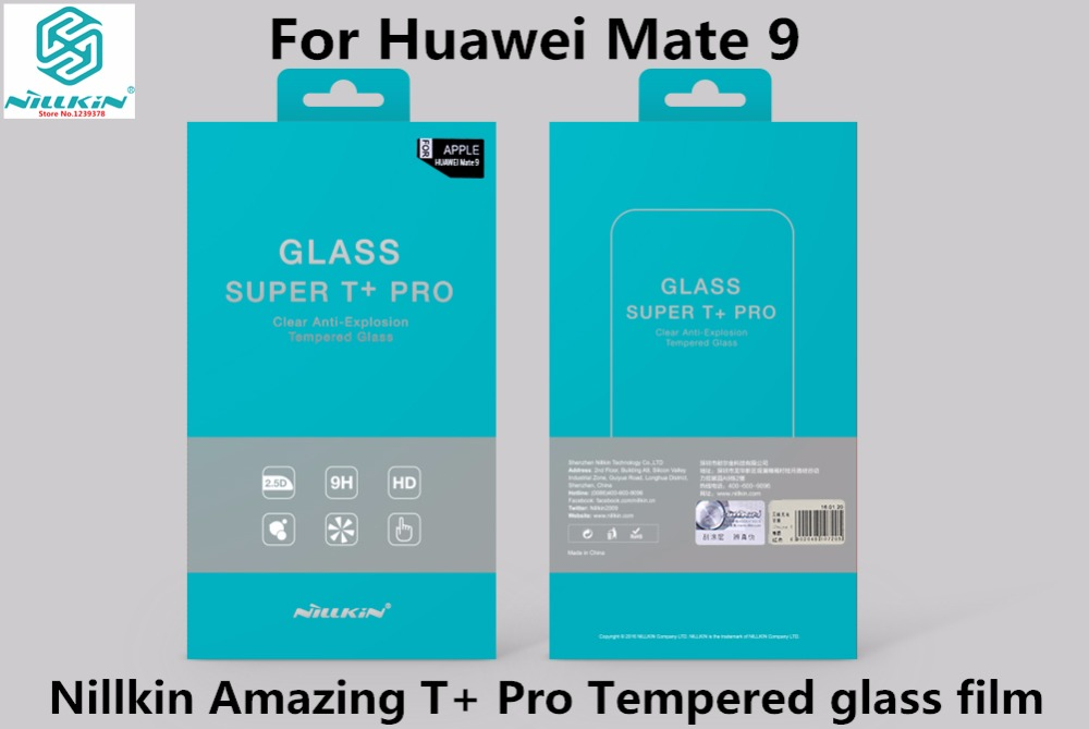 imágenes para Huawei mate 9 vidrio templado película nillkin super t + pro 2.5d 0.15mm anti-explosion templado protector de pantalla de cristal para mate 9 5.9