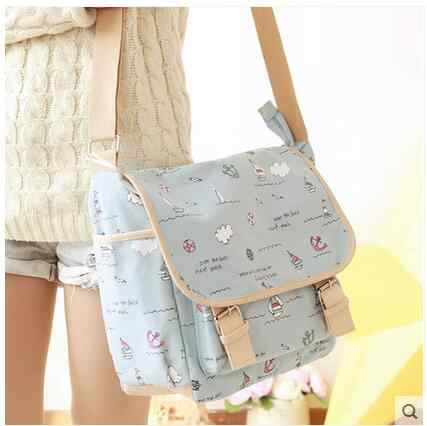 Shoulder bag female sleeper canvas bag Japanese and Korean version of fashion casual students bag tide college fresh wind