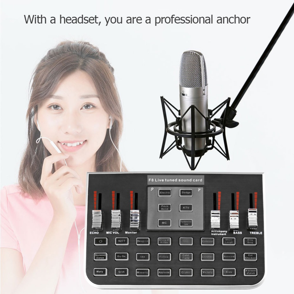 NEW F8 4 Modes Studio Audio Mixer Microphone Webcast Entertainment Streamer Live Sound Card for Phone Computer PCNEW F8 4 Modes Studio Audio Mixer Microphone Webcast Entertainment Streamer Live Sound Card for Phone Computer PC
