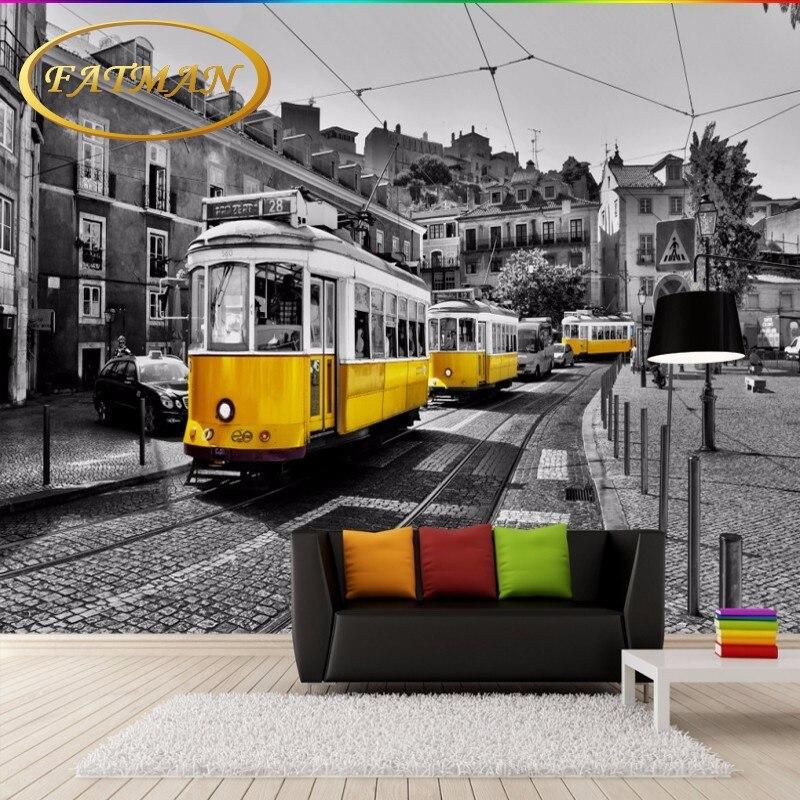 Custom photo wallpaper Retro nostalgia European street yellow tram black white fresco backdrop 3D bedroom mural wallpaper