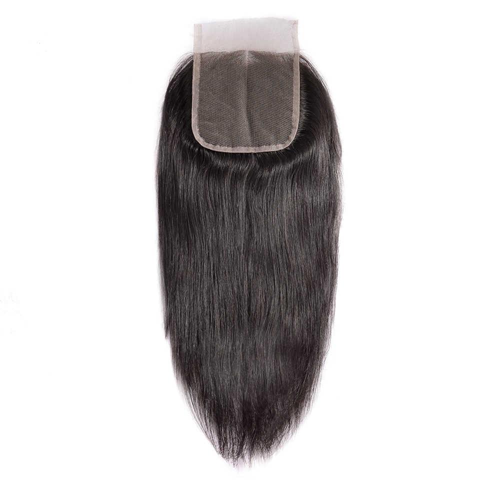 CEXXY brazylijski przejrzyste zamknięcie koronki prosto remy włosy Natural Color 100% ludzki włos 4 ''x 4'' darmowa wysyłka