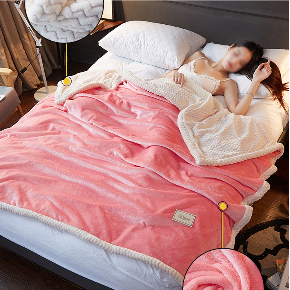 Winter Fashion Thick Soft Throw Fleece For Beds Warm Sofa Coral Solid Color Flannel Knitted Blankets