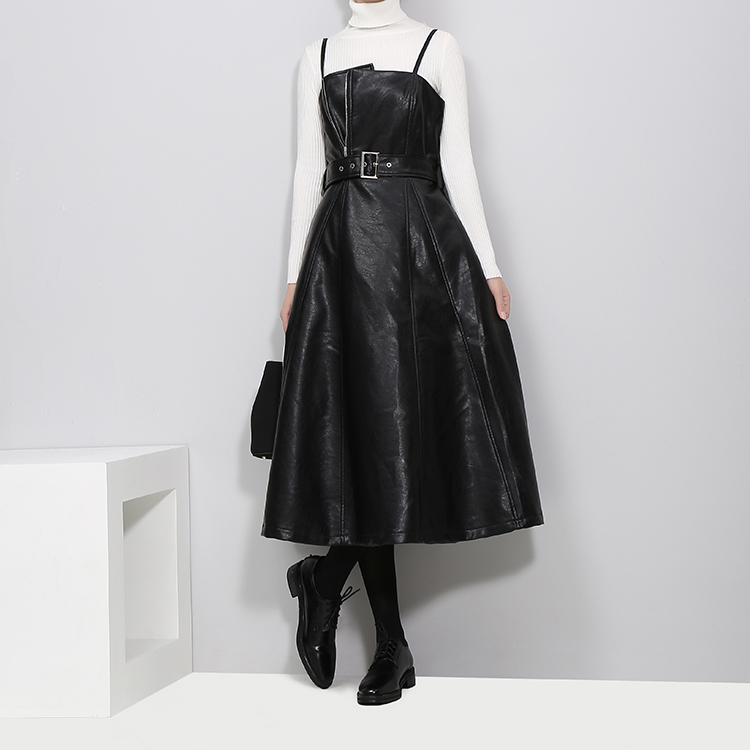 A-line Spaghetti Strap Faux Leather Black Dress With Belt