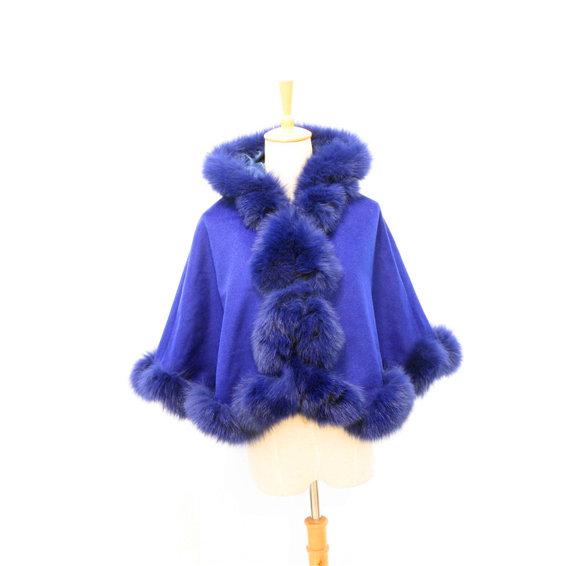 Livraison gratuite enfant (age3-5) longueur 40 cm fourrure torsadée avec capuche amovible cape en cachemire