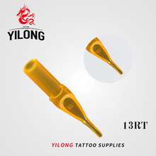 YILONG New 50pcs 13RT Flat Magnum Gold Shark Disposable Tattoo Tip Nozzle Supply GSDT-1002356-13RT