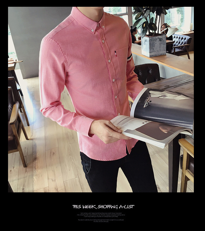 2017 New autumn men's casual tops brand shirt striped Strip decorate cotton men fashion solid color long sleeved Shirts M-XXXL 82