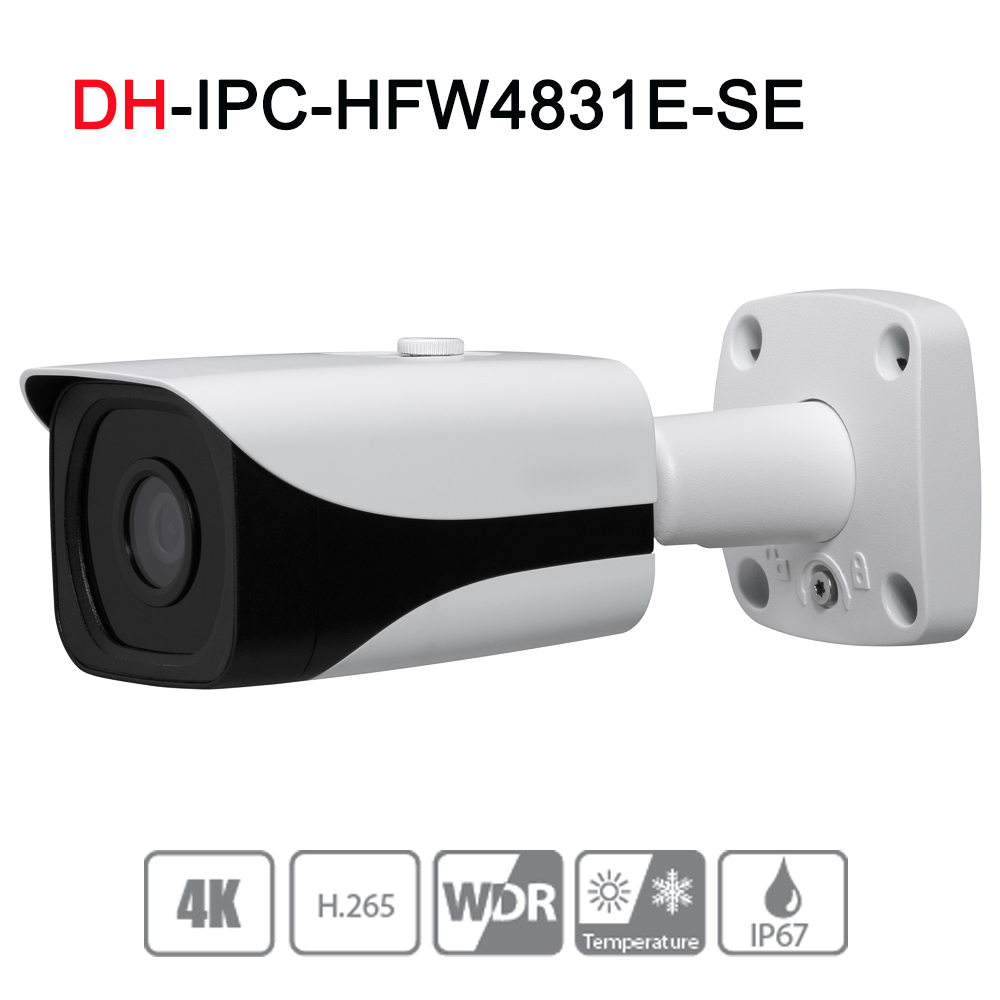 IPC-HFW4831E-SE 8MP WDR IR Mini Bullet Network IP Camera 4K Smart Detect 40m IR Support Micro SD Card H.265 WDR IP67 PoE dh ipc hfw4431e se 4mp wdr ir mini bullet network ip camera 4k smart detect 40m ir support micro sd card h 265 wdr ip67 poe