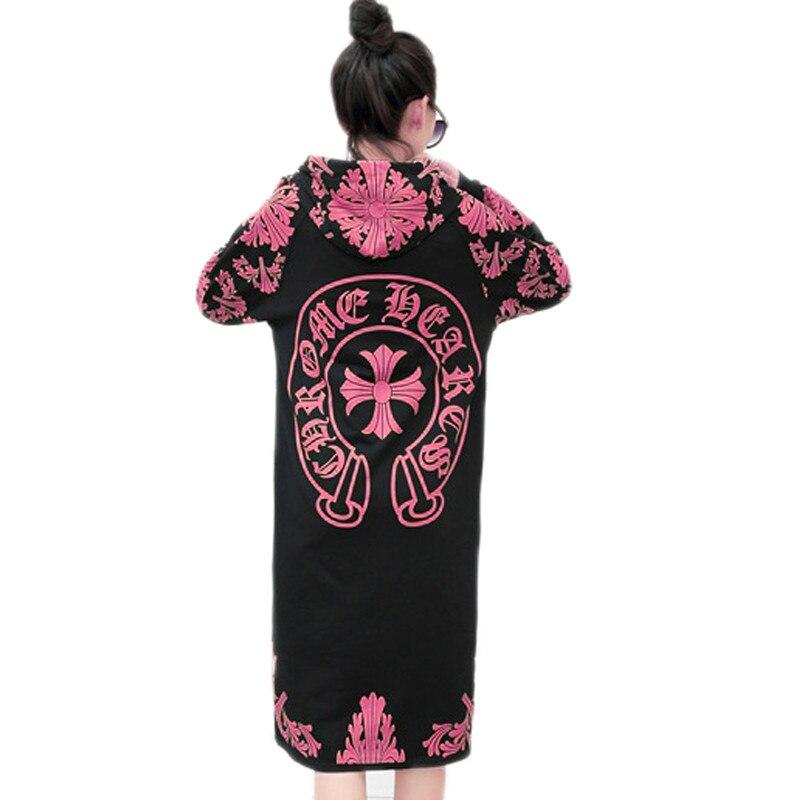 Casual sudaderas mujer 2017 Hooded Dress plus size loose pullover gray black pink sweatshirt women dress tracksuit hoodies women