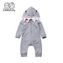 76be41962d37e Emmababy 2018 nouveau Tollder enfants bébé vêtements Newbon garçon fille  body combinaison requin costume de mode caractéristique.