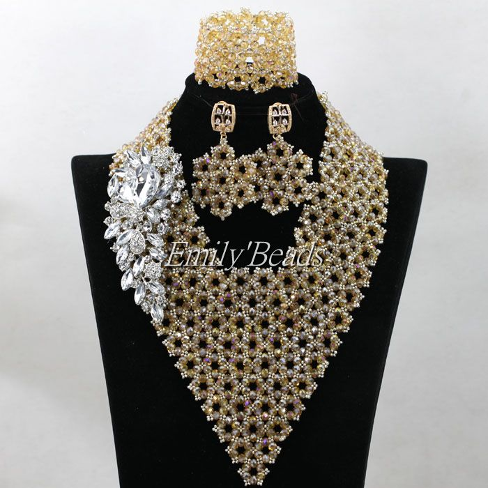 Latest Crystal Beads Nigerian Wedding African Costume Jewelry Set ...