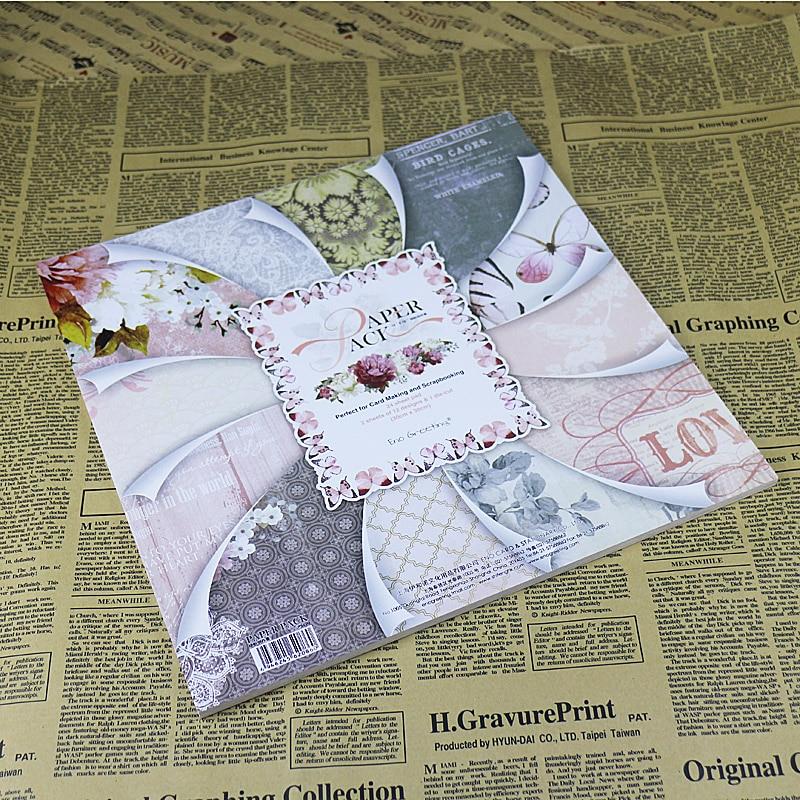Beautiful Vintage 12 Inch DIY Scrapbooking Paper Craft Set Butterfly Bird Cage Floral Vine Design
