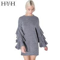 Ruffle Layer Sleeves 2016 New Lady Short Dress Brand New Fashion Design O Neck Grey Dress