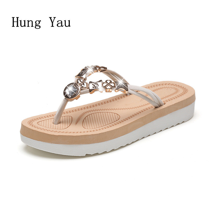 Women Sandals Flip Flops 2018 New Summer Fashion Rhinestone Wedges Shoes Woman Slides Crystal Beautiful Lady Casual Shoes Female xiaying smile summer new woman sandals casual fashion shoes wedges heel women pumps bling crystal sweet lady style women shoes