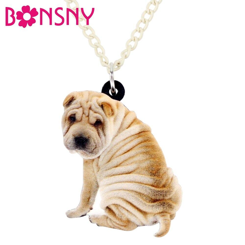 Pei Rating: Bonsny Acrylic Cartoon Chinese Shar Pei Dog Necklace
