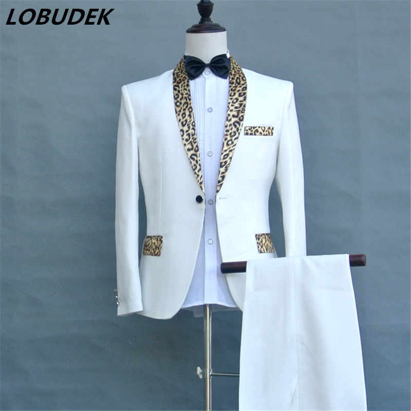 2017 (jacket+pants+tie) Leopard collar male suit Program host men's dress singer Prom formal costumes Nightclub DS show outfit