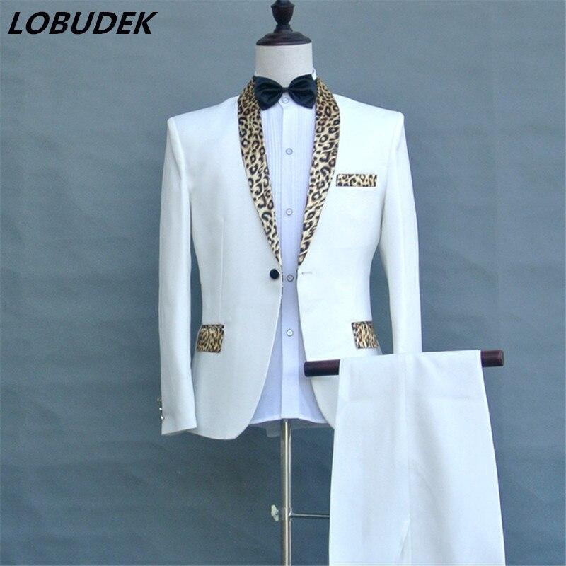 2017 (veste + pantalon + cravate) léopard col mâle costume programme hôte hommes robe chanteur bal formel costumes discothèque DS show tenue
