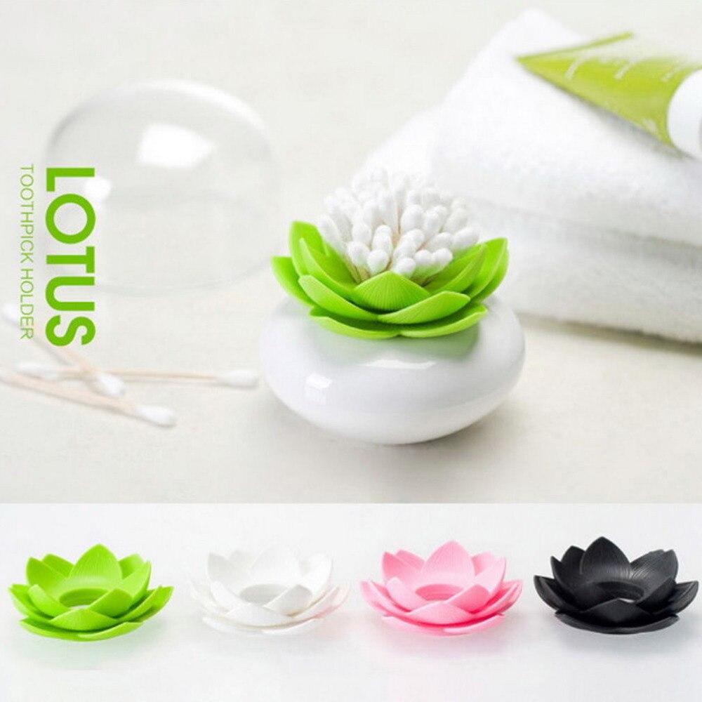 Lotus Flower Cotton Bud Holder Toothpick Case Cotton Swab Box Vase