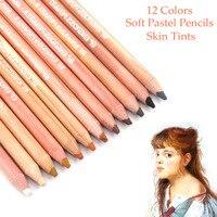 Профессиональный кожи оттенки мягких пастельных Цветные карандаши 12 шт. для портретной рисунок