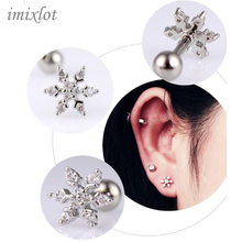 1pc Bar surgical 316 Stainless Steel Flower Zircon Flowers Lip ring piercing labret Tragus Ear Piercing Body Jewelry(China)