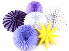 6pcs/set Purple Tissue Paper Fans Party Wedding Birthday Hanging Fiesta Fan Decorations Backdrop Decor
