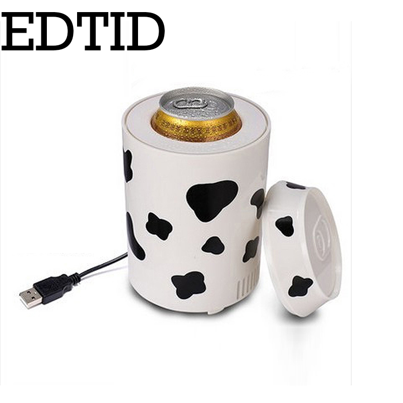 EDTID Mini USB Car Use Refrigerator Auto Cooler Small Freezer Household Refrigeration Fridge Drink Barrel Dorm Office Icebox 5V