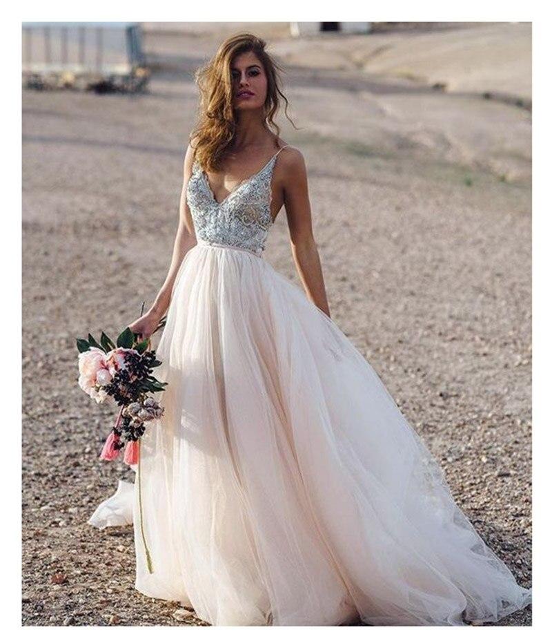 2019 Light Pink Spaghetti Straps With Flowers Wedding Dresses Appliques Sexy Bride Dress Backless Vestido De Novia Playa Gowns