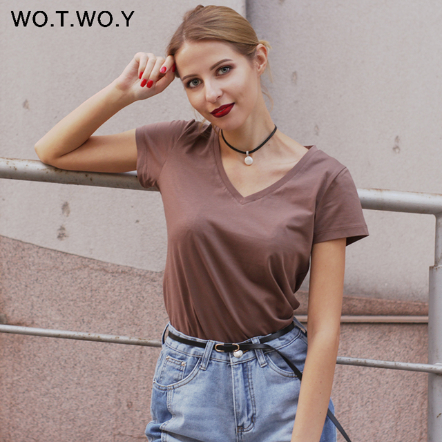 High Quality V-Neck 15 Candy Color Cotton Basic T-shirt Women Plain Simple T Shirt For Women Short Sleeve Female Tops 077 1