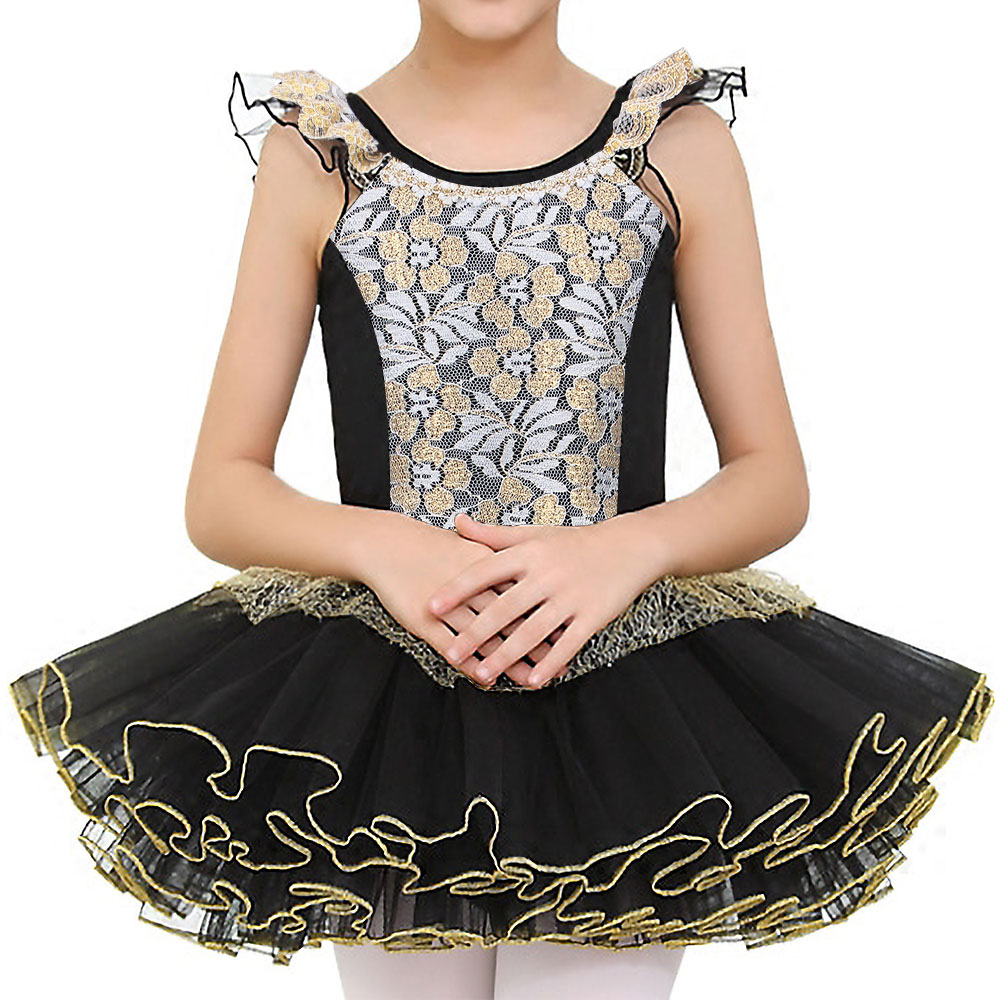 BAOHULU Lovely Cotton Ballet Dress For Kids Children Tutu Ballet Gold Foil Lace Dress Girls Leotards Dance Clothing