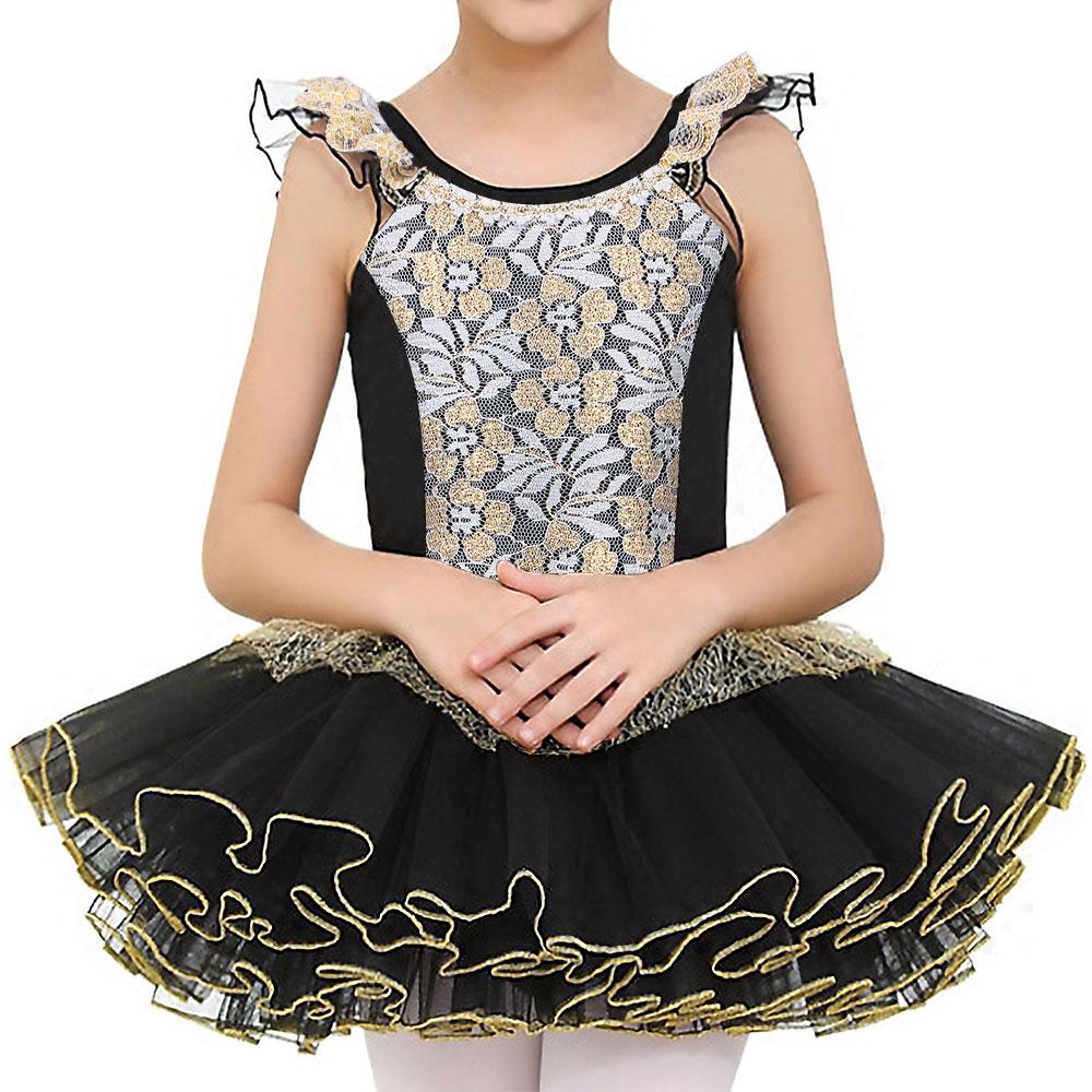BAOHULU Lovely Cotton Ballet Dress For Kids Children Tutu Ballet Gold Foil Lace Dress Girls Leotards Dance Clothing