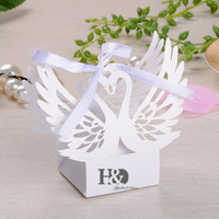 120pcs Set Laser Cut Swan Hollow Carriage Favor White Box Gifts Candy Boxes With Ribbon Baby
